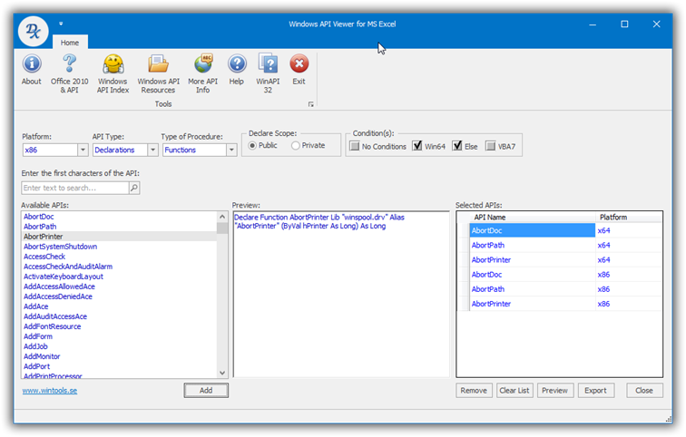 Windows API Viewer for MS Excel