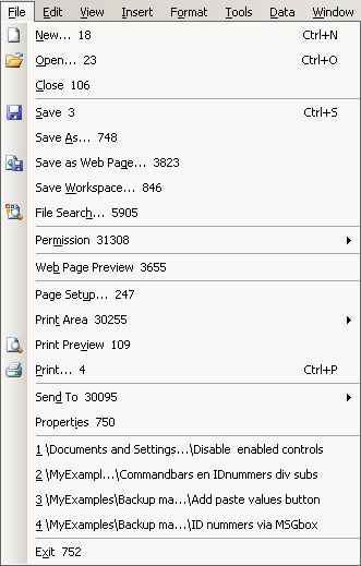 disable command bars and controls in excel 97