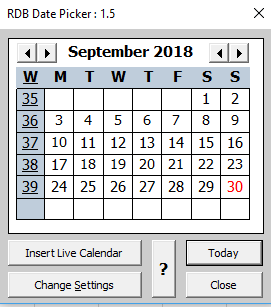 Date Picker Add-in for Excel for Windows