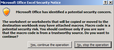 Copy sheet security dialog in excel 2007 2013 manual this is no big problem but what if you have code in your personalxlsb or add in that copy a sheet or sheets to a new workbook ibookread PDF